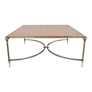 1970s Neoclassical Square Pink Marble Top Steel & Brass Coffee Table For Sale