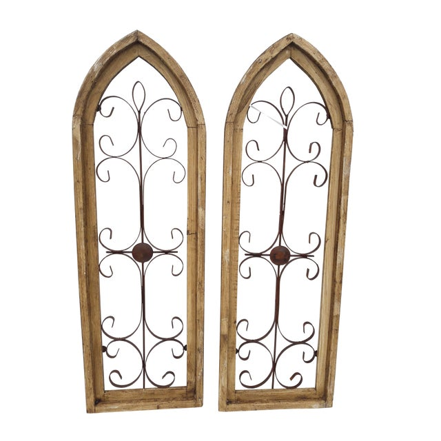 Brown Rustic Country Farmhouse Cathedral Window Grilled Shabby Wall Garden Hangings For Sale - Image 8 of 8