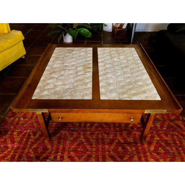 Mid-Century Hollywood Regency Teak and Mother of Pearl Square Coffee Table For Sale - Image 11 of 11