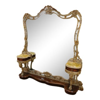 Fantastic Baroque Style Gilt Carved & Inlaid Vanity Dressing Pier Mirror W/ 2 Attached Onyx Top Stands C1980s For Sale