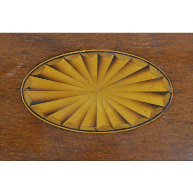 Pinwheel Inlay Flip Top Game Table Mahogany Rosewood English Sheraton Federal For Sale - Image 9 of 12
