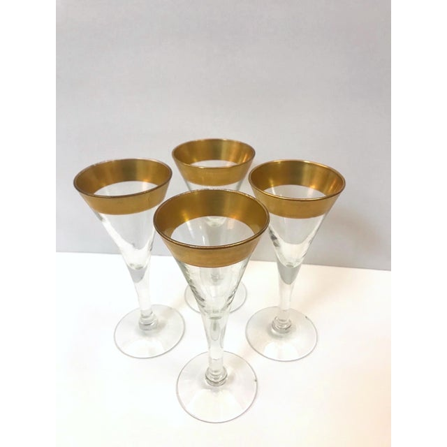 Crystal Set of Six Crystal Gold Rim Cordial Glasses by Dorothy Thorpe For Sale - Image 7 of 13