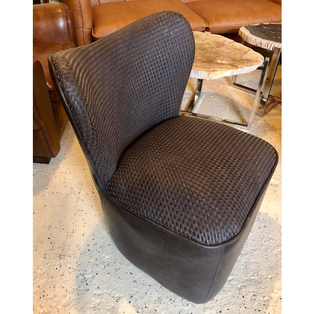 Early 21st Century Modern Woven Charcoal Grey Leather Seat and Backrest Side Chairs - a Pair For Sale - Image 5 of 9