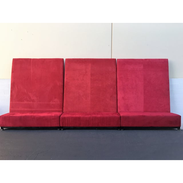 High-Back Red Velvet Benches - Set of 3 - Image 2 of 9