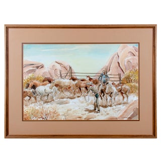 Horse Wranglers Watercolor Painting For Sale
