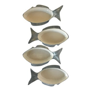 Small Hand Painted Blue Fish Dishes From Portugal - Set of 4 For Sale