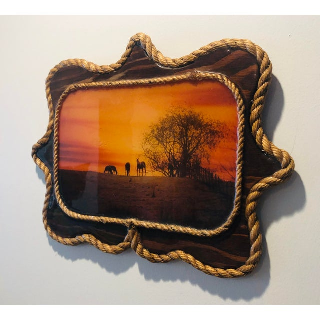 Cabin 1970s Vintage Resin Cowboy Wooden Picture For Sale - Image 3 of 5
