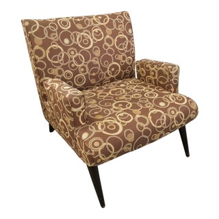 Brown Patterned Mid-Century Style Chair