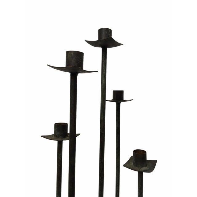 1960s Vintage Mid-Century Black Bent Steel Candelabra / Candle Holder For Sale - Image 5 of 6