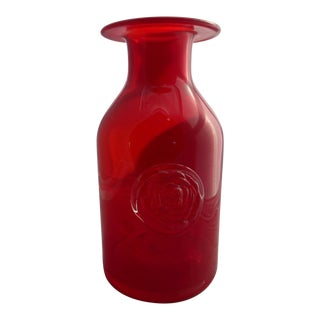 Large Mid Century 1960's Red Glass Vase With Molded Rose For Sale