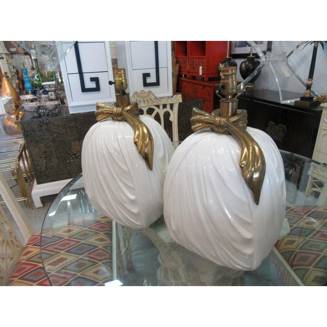 Chapman Brass & Ceramic Lamps - A Pair - Image 5 of 6
