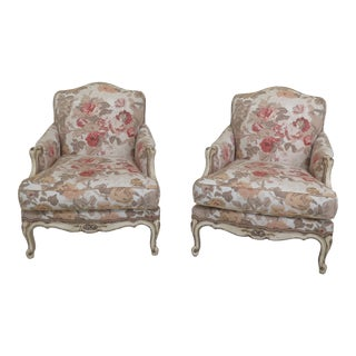 Modern Minton-Spidell French Paint Decorated Bergere Chairs- A Pair For Sale