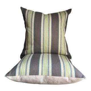 Espadrille Stripe Square Pillows- A Pair