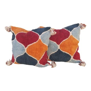 Pair 24 Inch Moroccan Wedding Quilt Pillows For Sale