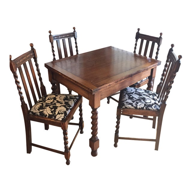 Barley Leg Solid Oak Table & Chairs - Image 1 of 5
