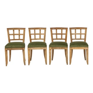 Set of 4 French Mid-Century Modern Cerused Oak Dining Chairs For Sale