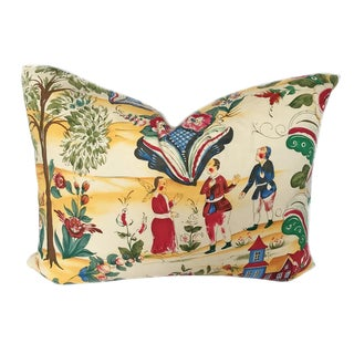 """Vintage Lorenzo Rubelli Tsarevich Italian Toile Pillow """"Courting Signorina"""""""
