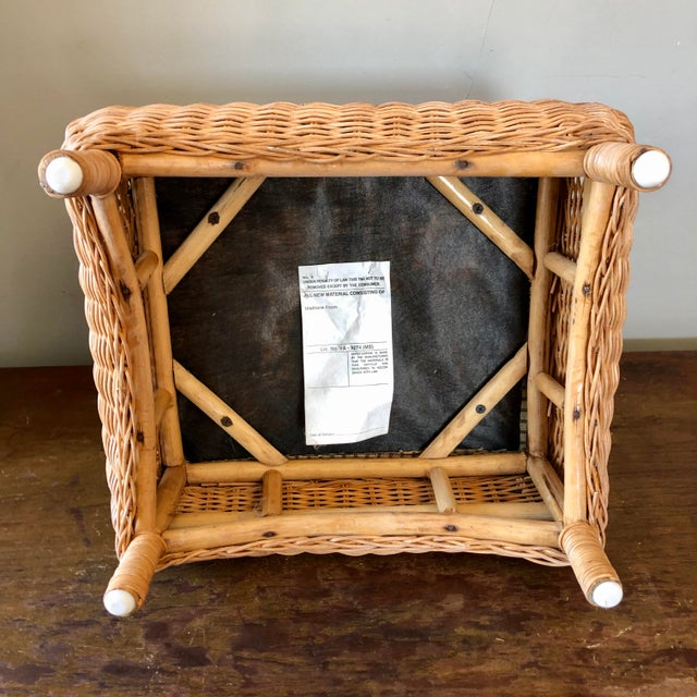 Wicker Green Upholstery Footstool For Sale - Image 4 of 5