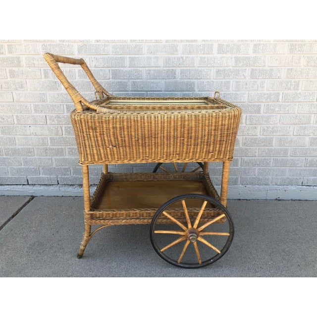 Early American Antique Wicker Tea Trolley/Bar Cart For Sale - Image 13 of 13