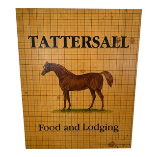 Hand Painted Equestrian Motife Tattersall Food and Lodging Sign For Sale
