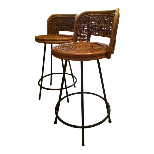 Tony Paul Style Vintage Rattan & Bamboo Swivel Bar Stools- A Pair - Image 1 of 5