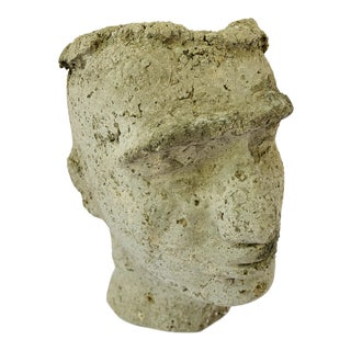 Modern Cast Stone Face Planter Vessel For Sale