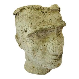 Modern Cast Stone Face Planter Vessel Concrete Bust For Sale