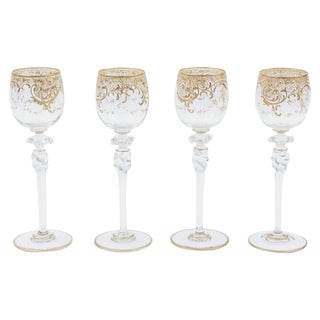 Four Tall Elegant Antique Moser Wine Goblets, Raised Gold & Hand-Painted Florals For Sale