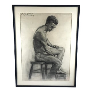 1920s Figurative Drawing of Seated Man Signed Aldrin For Sale