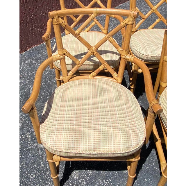 Vintage Coastal Ficks Reed Chinese Chippendale Bamboo Dining Chairs - Set of 8 For Sale In Miami - Image 6 of 13