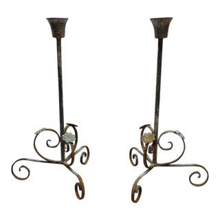French Regency Wrought Scrolled Iron Louis XV Candelabras - A Pair