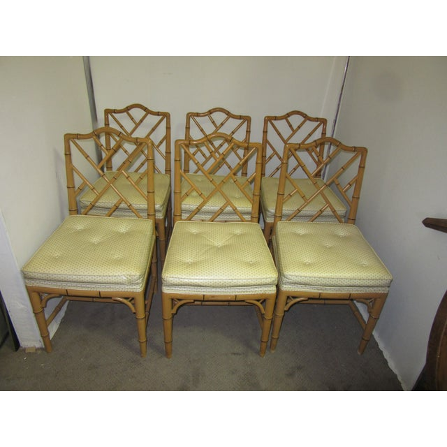 Hollywood Regency Style Faux Bamboo Chairs in Original Natural Finish - Set of 6 For Sale - Image 9 of 9
