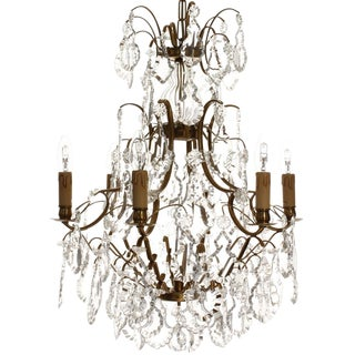 Baroque Style Pendeloque Crystal Electric Candle Chandelier For Sale