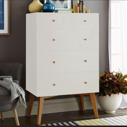West Elm Mid-20th Century Style Tallboy Dresser For Sale - Image 12 of 13