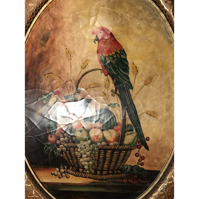 Pasargad N Y Hand Painted Parrot & Fruit Design For Sale - Image 3 of 3