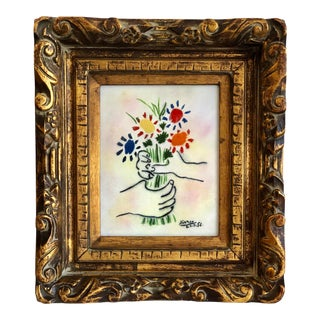 1970s Bouquet Original Enamel on Copper by Max Karp-After Picasso, Framed For Sale