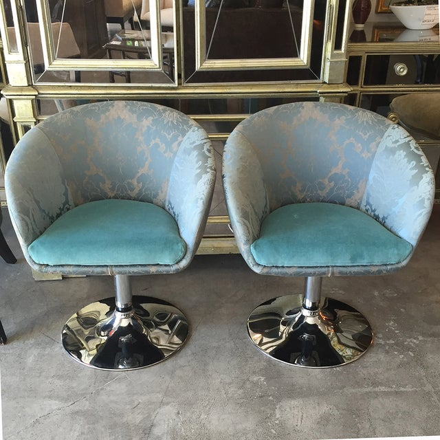 Vintage Custom Teal Swivel Chairs - A Pair - Image 2 of 11