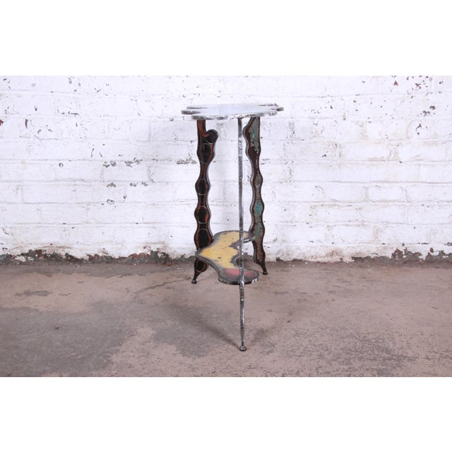 Industrial Postmodern Forged Metal Console Table Signed Cindy Wynn For Sale In South Bend - Image 6 of 11