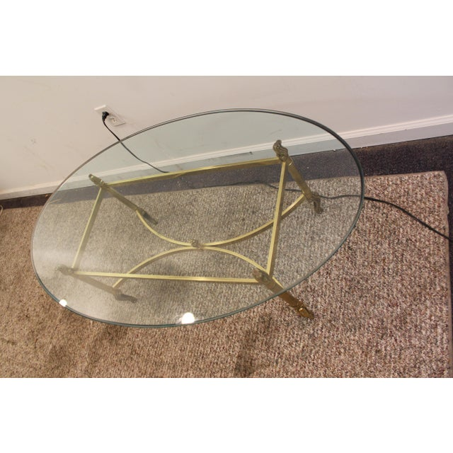 Regency Brass Base & Glass Top Coffee Table - Image 4 of 10