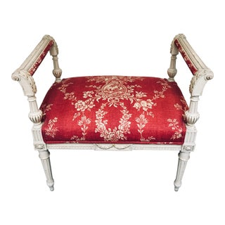 Toile Covered French Stool For Sale