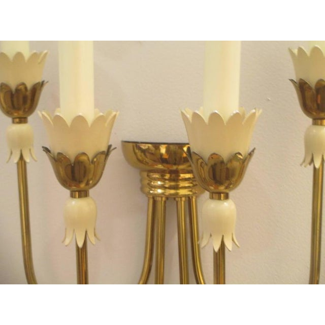 Italian Pair of Mid-Century Italian Brass Sconces with Four Arms For Sale - Image 3 of 6