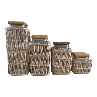 Mid 20th Century Vintage Wicker Canisters - Set of 4 For Sale