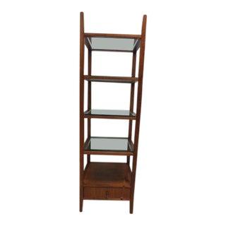 1980s Mid Century Style Walnut Etagere Bookshelf