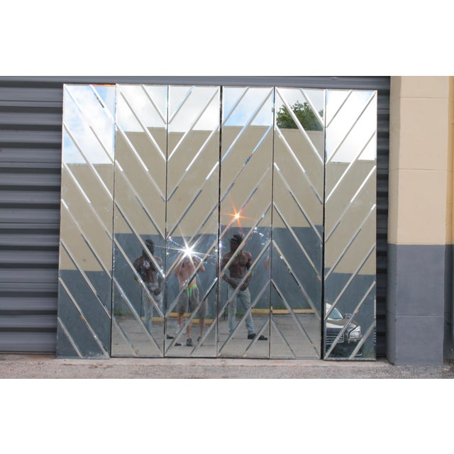Mid-Century Modern Beveled Mirror Screen - Image 8 of 11
