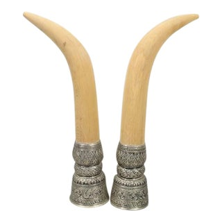 1960s Vintage Faux Elephant Tusk on Metal Engraved Based - Pair For Sale