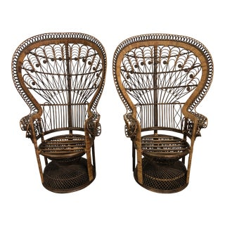 Vintage 20th Century Peacock Fan Chairs- a Pair For Sale