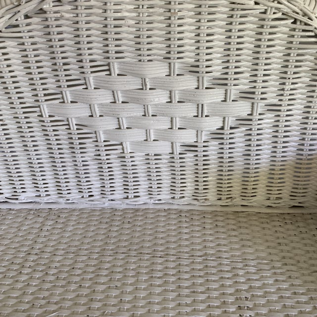 Shabby Chic 1970s Shabby Chic White Woven Wicker Etageres Bookcase For Sale - Image 3 of 9