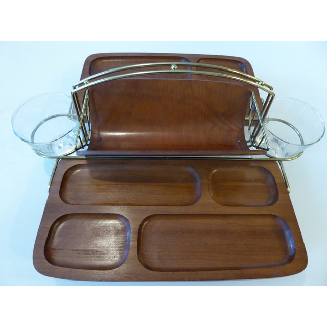 Mid-Century Modern Mid-Century Modern Folding Wood/Gold Dual Appetizer Tray or Bar Caddy For Sale - Image 3 of 8