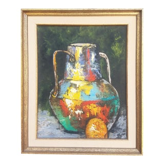 1950s Boho Chic Still Life Oil Painting For Sale