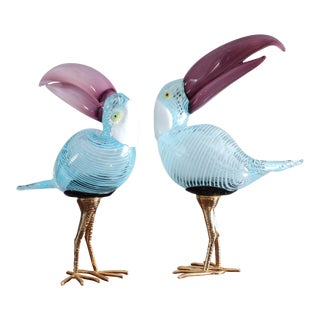 Murano Glass Toucan Birds on Gilt Legs in the Style of Licio Zanetti - Pair For Sale